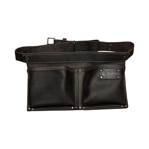 Rectangular leather nail bag with belt - 2 pockets