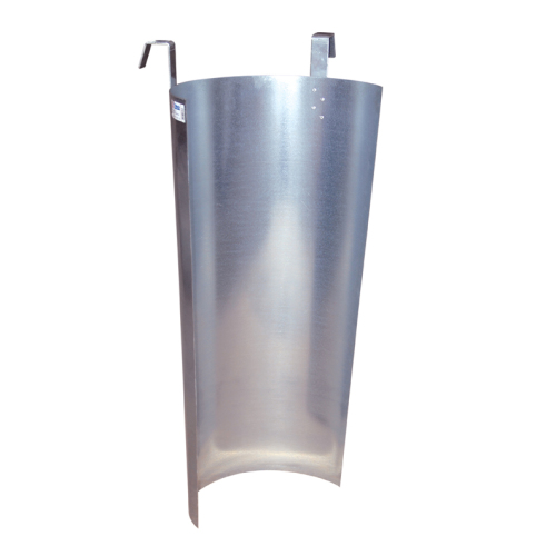 Metal protective shield for chute